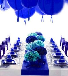 Pantone Dazzling Blue. Cobalt blue party decorations, flowers, chairs and runner--image via Tinsel Twine