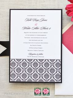 This invitation was originally designed for a Charleston, South Carolina wedding. It has become a bride favorite! This invitation is a true classic in crisp black ink paired with our colored envelopes and black linen mat and black linen envelope liners