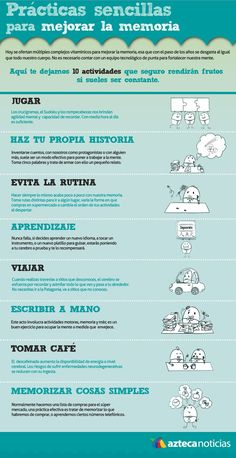 Sencillas prácticas para mejorar la memoria. #memoria #infografía #infographic