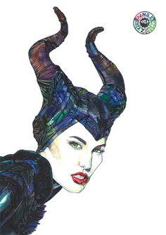 Maleficent ver.3 / 2014 . pen on watercolor  line , pattern , pen art