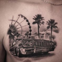 Tattoo Igor Terentev - tattoo's photo In the style Black and grey, Male, Differe Gangsta Tattoos, Car Tattoos, Dope Tattoos, Badass Tattoos, Tattoos For Guys, Chicanas Tattoo, Money Tattoo, Inca Tattoo, Lowrider Tattoo