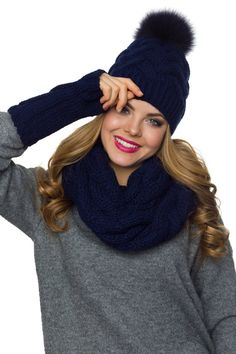 d152e9111fc Winter hat scarf and gloves set This winter pom pom beanie infinity scarf  and gloves set