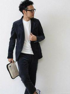 coenオフィス   プレス野邊さんのテーラードジャケット「coen エアリーコーデュロイセットアップジャケット」を使ったコーディネート