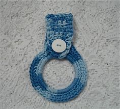 Towel ring holder with button closure  Blue Shades by NanaLetha, $4.50
