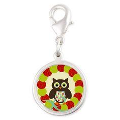 Christmas Owl Merry Christmas Charms on CafePress.com