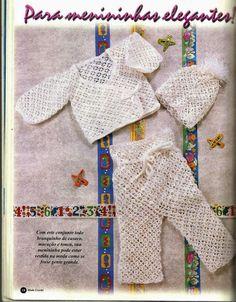 Crochê Tricô do Bebê: Casaquinho,touca e macacão para meninas em crochê