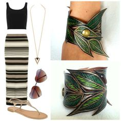 Here is a perfect Spring/ Summer outfit that pairs perfectly with my new cuff design!  Spring Leaf Bracelet, Gold Green Leaf Cuff Faux Leather Hand Painted, Handmade Jewelry, Leaf Jewelry, Gifts for her, via Etsy.