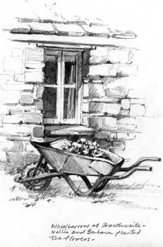Pencil Art Pencil sketchbook drawing of High Branthwaite - Pencil Drawing Tutorials, Drawing Projects, Drawing Ideas, Watercolor Landscape Paintings, Landscape Drawings, Sketchbook Drawings, Drawing Sketches, Sketching, Pencil Art
