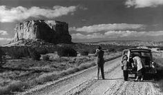 Tourists at Enchanted Mesa near Acoma Pueblo, New Mexico, ca. 1955. Palace of the Governors Photo Archives 058264.