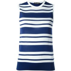 Dolce & Gabbana Striped Silk Top ($695) ❤ liked on Polyvore featuring tops, navy, blue top, striped tank top, navy tank, navy blue tank and striped tank