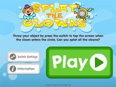 Splat the clown er en app, hvor du skal trykke på kontakten indenfor et tidsrum sådan at du kan kaste kagen i hovedet på klovnen. En god app hvor du træner timingen af trykket på kontakten