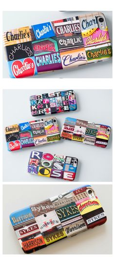 Custom iPhone cases featuring names in sign photos -- makes a great gift for your tech lover!