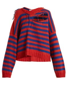 Click here to buy Charles Jeffrey LOVERBOY Slashed striped-print wool-blend cropped sweater at MATCHESFASHION.COM