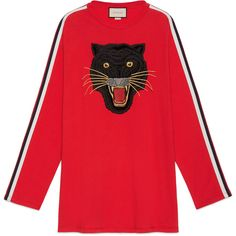 a150d7f18 Gucci Oversize Cotton T-Shirt With Panther (3,075 PEN) ❤ liked on Polyvore