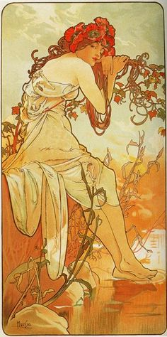 Summer Czech Art Nouveau distinct Alphonse Mucha art for sale at Toperfect gallery. Buy the Summer Czech Art Nouveau distinct Alphonse Mucha oil painting in Factory Price. All Paintings are Satisfaction Guaranteed Mucha Art Nouveau, Alphonse Mucha Art, Art Nouveau Poster, Poster Art, Kunst Poster, Mucha Artist, Print Poster, Jugendstil Design, Wow Art