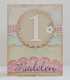 bibbis dillerier First Birthday Cards, Birthday Badge, Card Making Inspiration, Making Ideas, Scrapbook Cards, Scrapbooking, Make Your Own Card, Baby Girl Cards, Happy 1st Birthdays