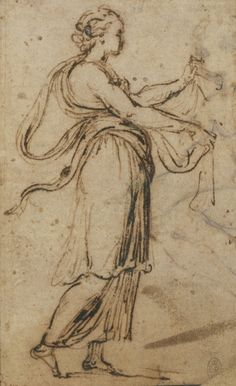 A woman in classical drapery standing in profile to the right, holding the ends of her sash in front of her. Study for the figure in the subsidiary scene of the Stoning of St Stephen tapestry. Verso: rough sketch of a seated male nude.