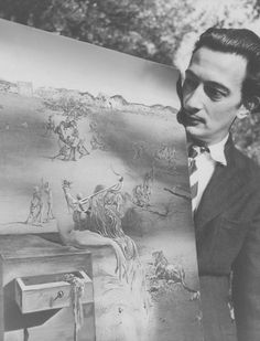 """Salvador Dalí with """"España"""" painting in the village La Pausa (1938)"""