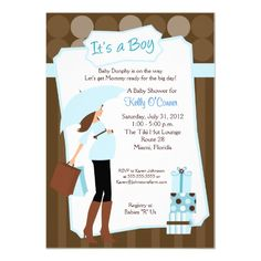 Modern Mom Baby Shower Invitation - Baby Boy! by #allpetscherished