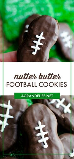 You'll score a touchdown with these Nutter Butter Football Cookies! Chocolate covered Nutter Butter cookies are decorated to look like footballs! Nutter Butter Cookies, Yummy Cookies, Baking Cookies, Chocolate Cookies, Football Cookies, Football Snacks, Delicious Cookie Recipes, Snack Recipes, Yummy Food