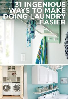 31 Ingenious Ways To Make Doing Laundry Easier- great ideas for when I have an actual laundry room. or maybe I'll just do all this in the basement and make it look way too cool for a basement laundry area. Home Organization, House Design, House, Laundry Mud Room, Home Projects, Doing Laundry, Clean House, Laundry Room Makeover, Home Diy