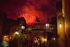 Fireworks in the Sky Over Rancho del Zocalo at Disneyland Park