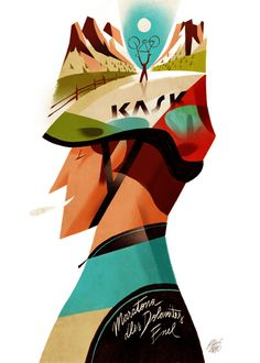 Awe-Inspiring Illustrations and Paint Art Posters by Riccardo Guasco Bicycle Illustration, Illustration Art, Banners, Graphisches Design, Illustrations And Posters, Art Posters, Bicycle Art, Cycling Art, Sports Art