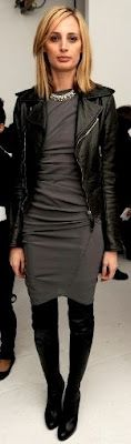 Black leather jacket, grey body con dress, black tights and booties.  Skip the tights and do cage heels for warmer temps.
