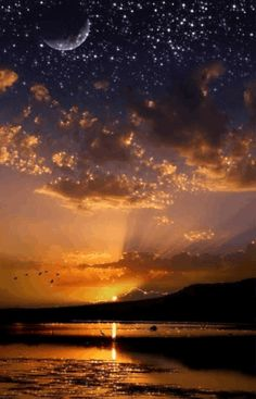 Moon, Sun and Stars at the same time! by iva Good Night Messages, Good Night Quotes, Good Morning Good Night, Weekend Images, Cool Pictures, Beautiful Pictures, Rain Photography, Gif Photo, The Great Outdoors