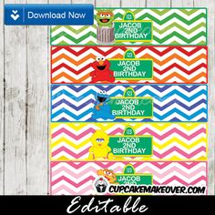 Printable Sesame Streetwater bottle labels are a must-have highlight for any birthday party. These editable bottle wrappers can be personalized with your custom text. #cupcakemakeover