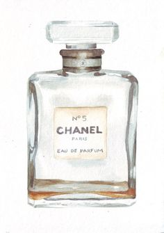Original watercolor illustration painting of Chanel No 5 Perfume Bottle art