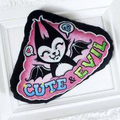 Cute and Evil Batcat Soft minky mini pillow