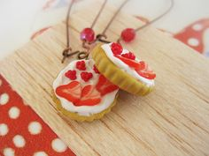 Red Fruit Tart Drop Earrings _ Miniature Food _ Polymer clay _ Foodie Gift _ Tart Collection by MarisAlley on Etsy Fruit Tart, Red Fruit, Tart Collections, Miniature Food, Tarts, Cookie Recipes, Polymer Clay, Strawberry, Miniatures