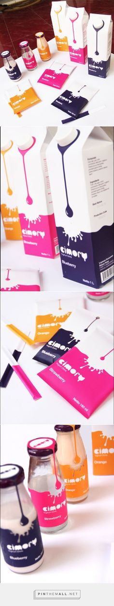 Cimory Yogurt on Behance by Rastasari Aras curated by Packaging Diva PD. Rebranding of Cimory Yogurt Drink packaging for a school project. Love the labels and the drop.