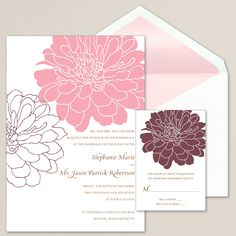 Passionate Peony Wedding Invitation (available in other colors) | #exclusivelyweddings | #pinkwedding