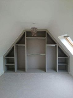 The attic closet design ideas we found might just be the extra push you need to . The attic closet design ideas we found might just be the extra push you need to organize your attic and put it into practical use. See betterthathome. Attic Design, Loft Design, Design Case, Attic Bedroom Designs, Design Bedroom, Studio Design, Attic Spaces, Attic Rooms, Attic Bedroom Ideas Angled Ceilings