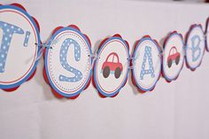 Cars It's A Boy Banner Baby Shower Large- Red & Blue
