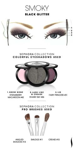 SMOKY: Black Glitter HOW TO. #sephoracollection #sephora #eyeshadow