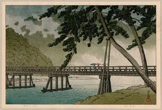 Print of the Day!! Tuesday, January 17, 2017  Japanese printmaker Kawase Hasui  (1883-1957); Arasiyama, Kyoto (June, from the Calendar for the Pacific Transport Lines, 1953); color woodcut; 1952.