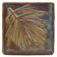White Pine 4x4 Handmade Ceramic Art Tile Autumn Glaze