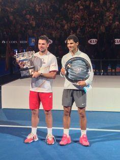2014 Australian Open Champion Stan Wawrinka and Rafael Nadal Atp Tennis, Play Tennis, Kim Clijsters, Stan Wawrinka, Ana Ivanovic, Sports Fanatics, Games Today, Australian Open, Champs