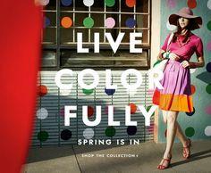 Kate Spade Ads: Get Design Inspiration Monday Inspiration, Design Inspiration, Kate Spade Designer, Advertising, Ads, Cute Handbags, True Colors, Colours, Bright Colors