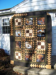 This quilt would also make a great setting for Patriot/Veteran panel insets. Started by making all the wildlife blocks the same size by adding the black around them. From the quilting Board. Man Quilt, Boy Quilts, Quilting Projects, Quilting Designs, Quilting Ideas, Sewing Projects, Patch Quilt, Quilt Blocks, Wildlife Quilts