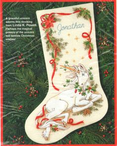 "VINTAGE 1993 DIMENSIONS ""CHRISTMAS UNICORN STOCKING"" CREWEL EMBROIDERY KIT #Dimensions"