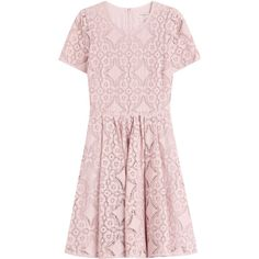 Burberry London English Lace A-Line Dress ($979) ❤ liked on Polyvore featuring dresses, pink, fit flare dress, pastel dresses, lace dress, fit and flare dress and pink fit-and-flare dresses