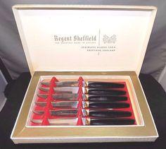 Regent Sheffield Boxed Set of 6 Stainless Steel Steak Knives with Melmac Handles   eBay