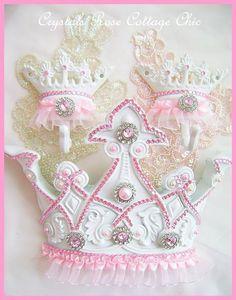 Pair of Pink Princess Tutu Crown Hooks Pink by sweetlilboutique