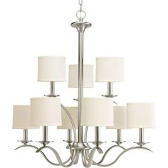 Modern Large Two-Level Chandelier > $286.56 Brushed Nickel, 9 Lights - Chandelier Top: Brushed Nickel Chandeliers, Crystal Chandeliers, Glass Chandeliers, Lamp Shades Chandeliers, Large Chandeliers, Modern/Contemporary Chandeliers