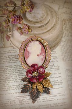 Romantic Victorian Cameo Brooch by ClockHandsGoneMad on Etsy Vintage Jewelry, Handmade Jewelry, Victorian Jewelry, Raindrops And Roses, Cameo Jewelry, Color Of The Year, Dusty Rose, Fascinator, Lady
