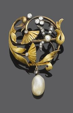 An Art Nouveau pearl and diamond brooch, circa 1890. Composed of textured scrolling foliage with old brilliant-cut and cushion-shaped diamond detail, suspending a drop shaped pearl with old brilliant-cut diamond cap.